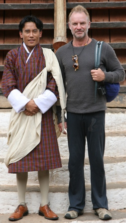 Sting and Namgay in Punakha Dzong