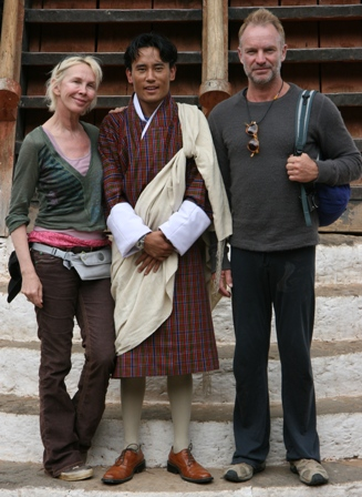 Trudie Namgay and Sting in Punakha Dzong
