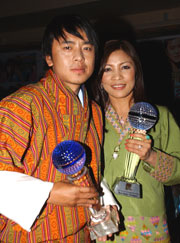 Best Actor Chencho Dorji and Best Actress Lhaki Dolma