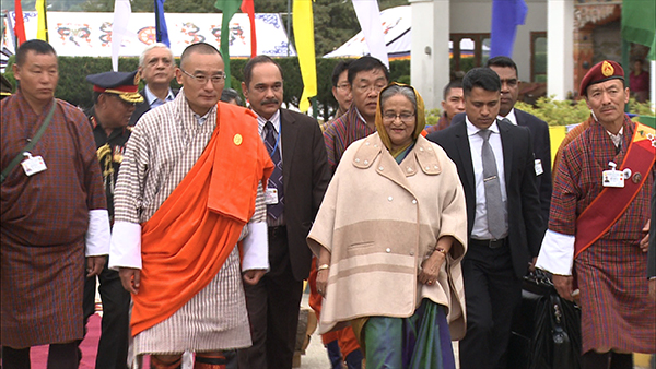 The Prime Minister of Bangladesh Sheikh Hasina leaves Bhutan after State Visit